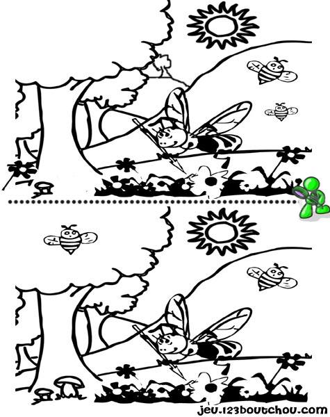 7 différences enfant fiche 7 différences animaux / abeille