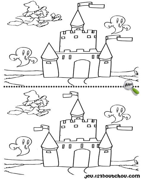 7 différences enfant fiche 7 différences monstres / chateau