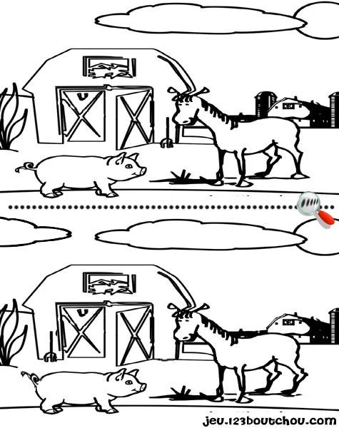 7 différences enfant fiche 7 différences animaux / cheval