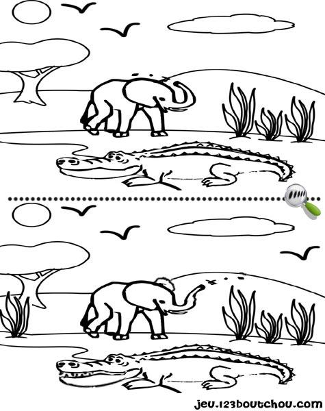 7 différences enfant fiche 7 différences animaux / crocodile