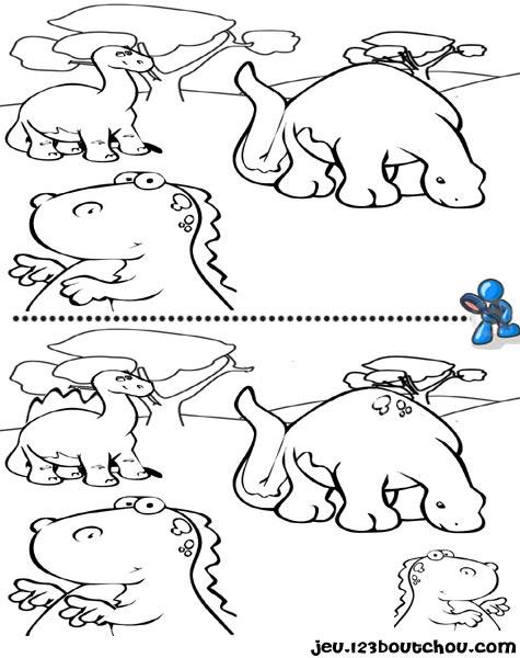 7 différences enfant fiche 7 différences animaux / dinosaure