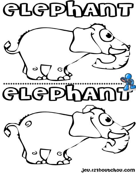 7 différences enfant fiche 7 différences animaux / elephant