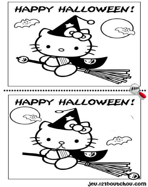 7 différences enfant fiche 7 différences monstres / halloween hello kitty