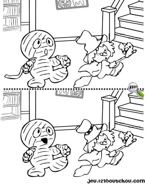 7 différences enfant fiche 7 différences monstres / momie