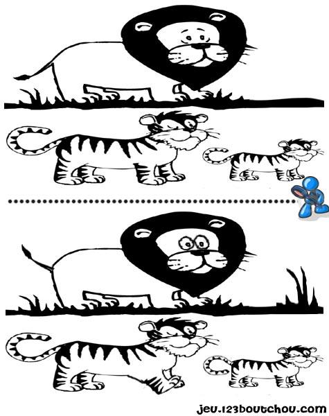 7 différences enfant fiche 7 différences animaux / tigre