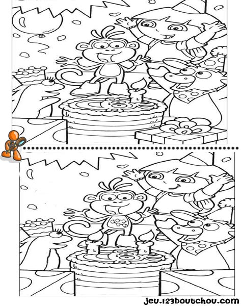 7 différences enfant fiche 7 différences heros / dora