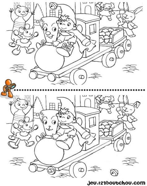 7 différences enfant fiche 7 différences heros / oui oui