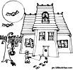 coloriage enfant Coloriage halloween : le manoir hanté