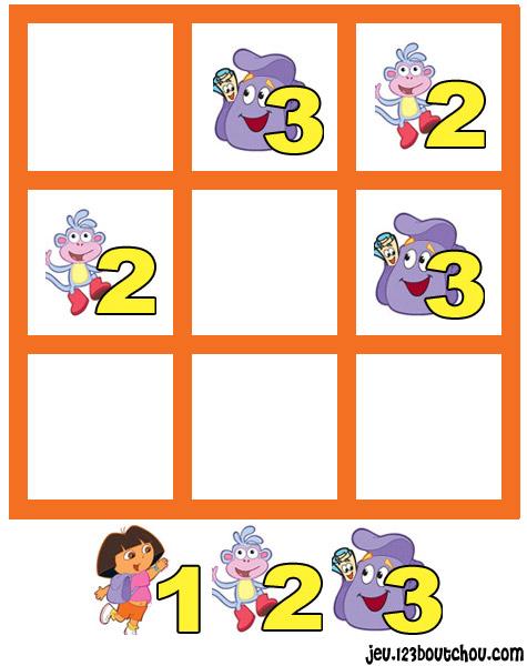 jeu de sudoku 'Grille sudoku Facile dora n° 4' pour enfant a imprimer gratuit de 0 à 5 ans ...